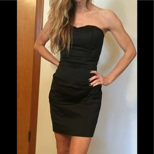 Women's black strapless dress